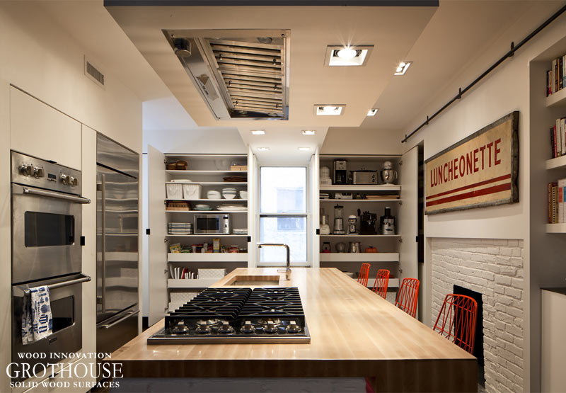 Wood Kitchen Countertops with Cooktop Cutouts