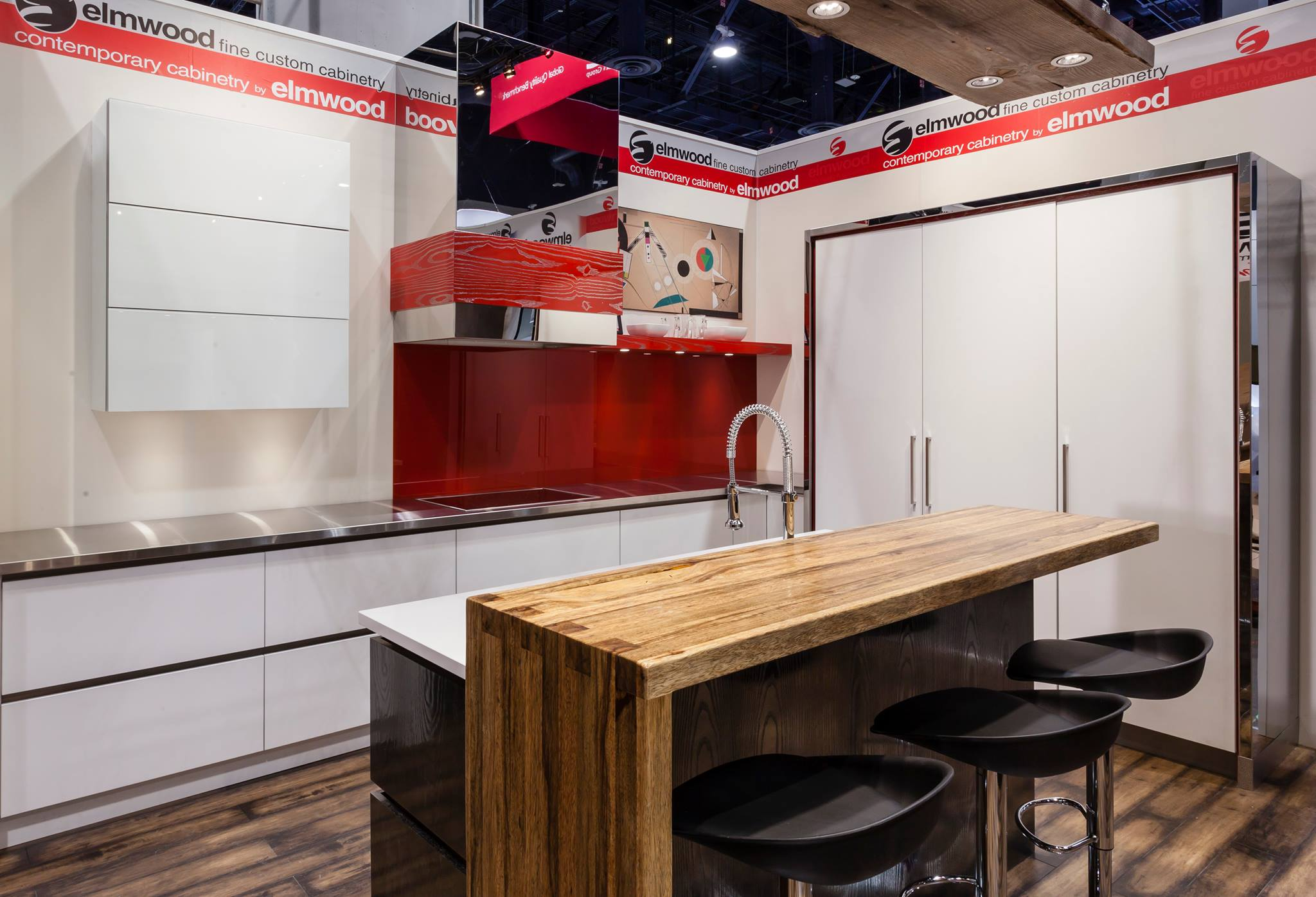 Grothouse wood countertops in Elmwood Custom Cabinetry display at KBIS 2015