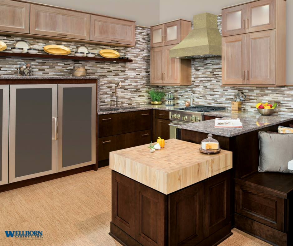 Grothouse wood countertops in Wellborn Cabinet display at KBIS 2015