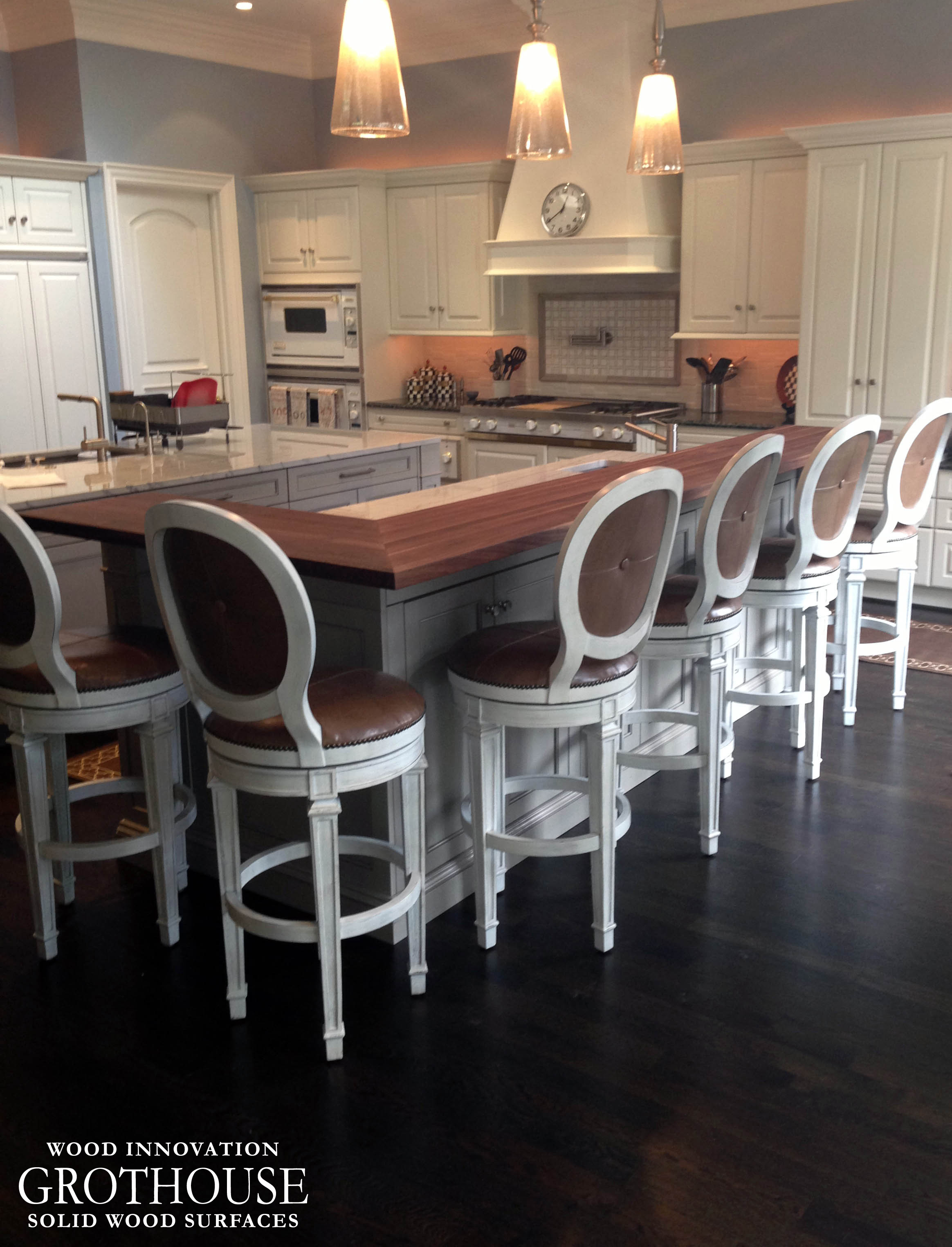Kitchen Island Bar Ideas Raised Wood countertop with Marble