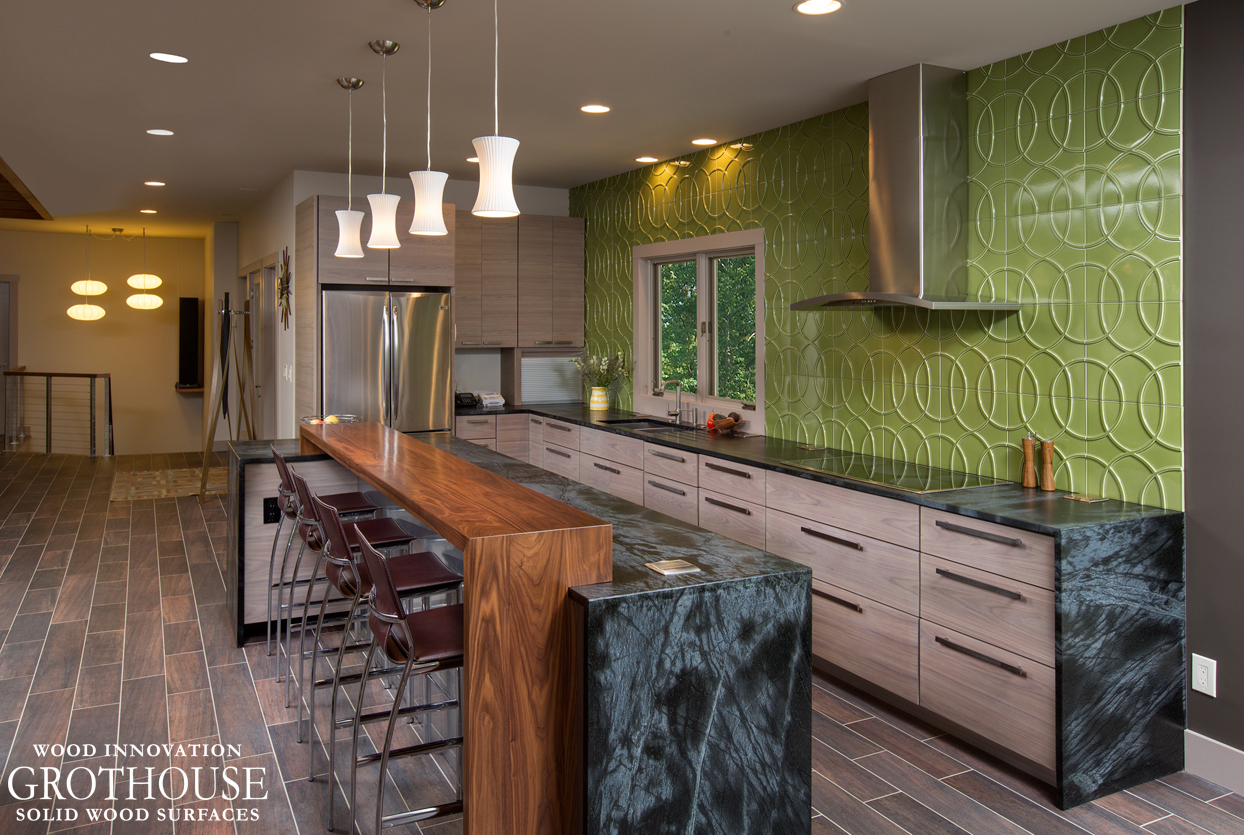 Kitchen Island Bar Ideas with Wood Pastore Countertop