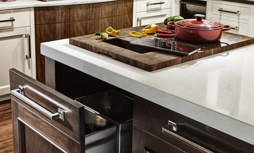 Wood cutting board counter top designed by Blue Bell Kitchens