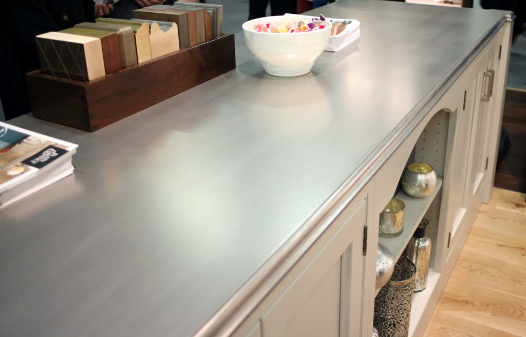 Palladium Metal Countertop designed by Plain & Fancy Cabinetry