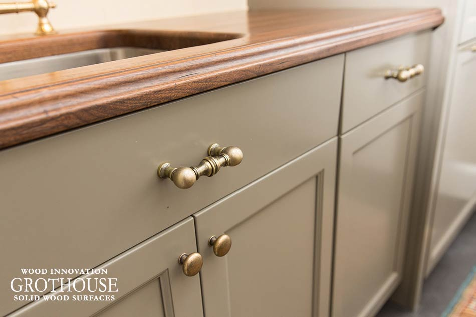 Gray Cabinets with Wood Countertops