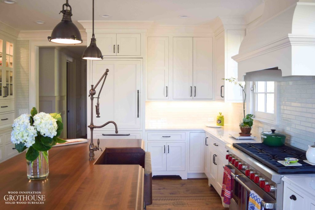 Stained Cherry Countertop and Sub-Zero Wolf in kitchen design