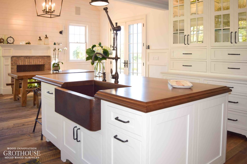 Stained Cherry Wood Countertop with Farmhouse Sink