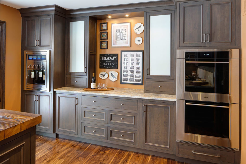 Design featuring a Wood Reclaimed Chestnut Bar Top for a Kitchen Island
