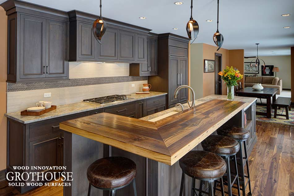 Combining Quartzite Tempesta and Reclaimed Chestnut Wood Kitchen Countertop Materials