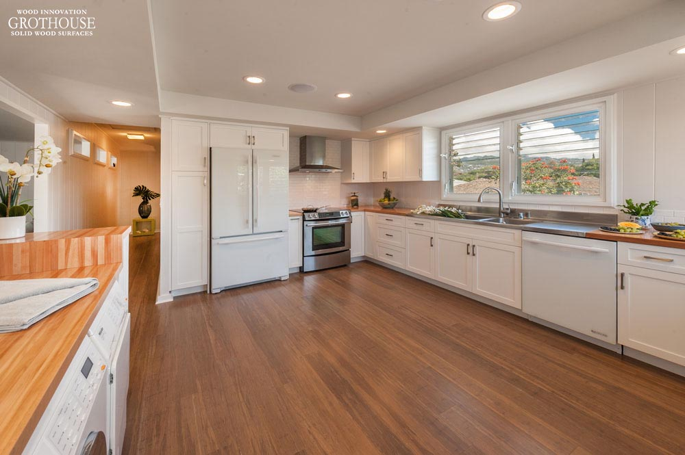 American Beech Countertops for a white kitchen designed by Tiare Noelani Pinto of Archipelago Hawaii