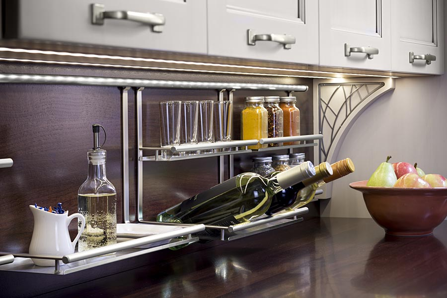 Declutter Kitchen Countertops by making use of empty wall space