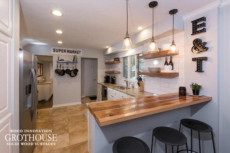 Reclaimed Wood Kitchen Bar Tops for seating in modern farmhouse style kitchens
