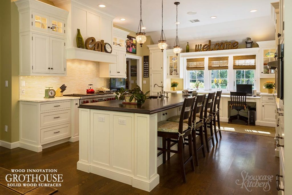 Stained and Distressed Solid Wood Island Countertops made of Walnut