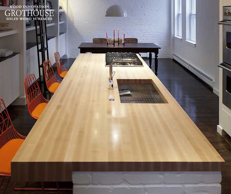 Maple North American Wood Countertops for kitchens, bathrooms, offices