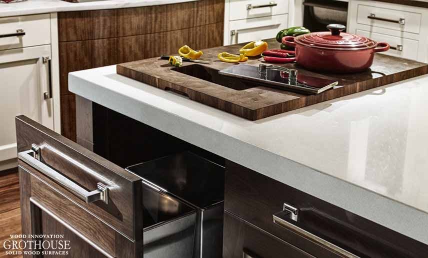 Custom Wood Butcher Block Station designed by Blue Bell Kitchens with Waste Hole