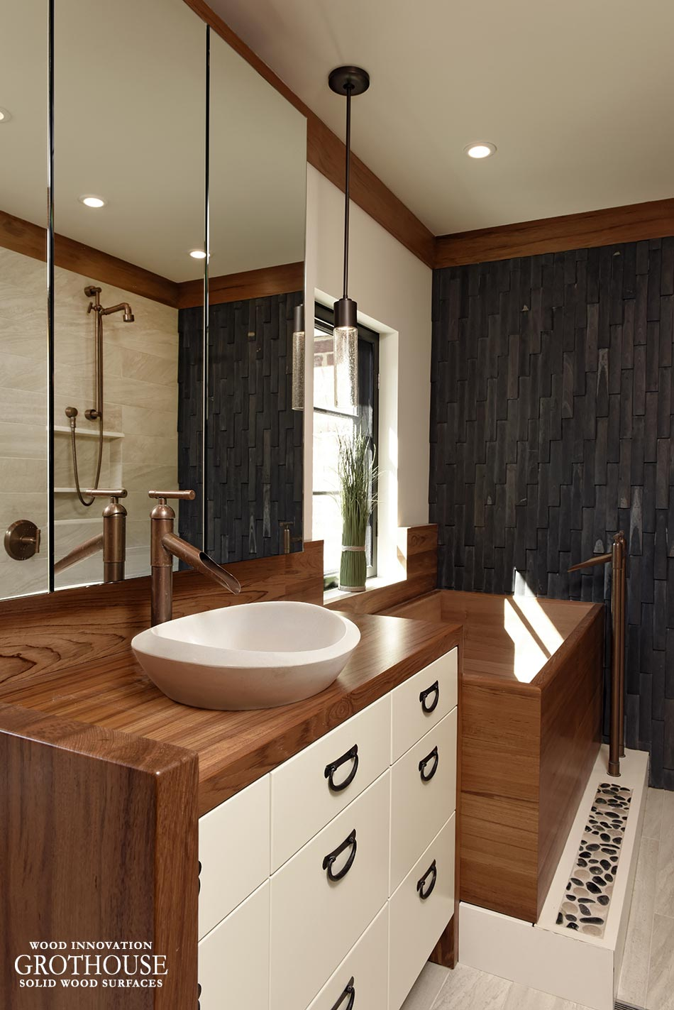 Wood Bath Surround matches vanity countertop and divider wall in Asian style master bath