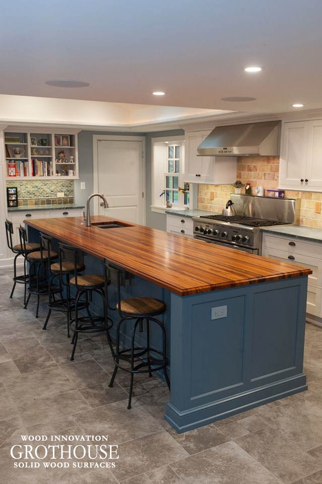 Blue Kitchen Island with Tigerwood Countertop for a White Kitchen