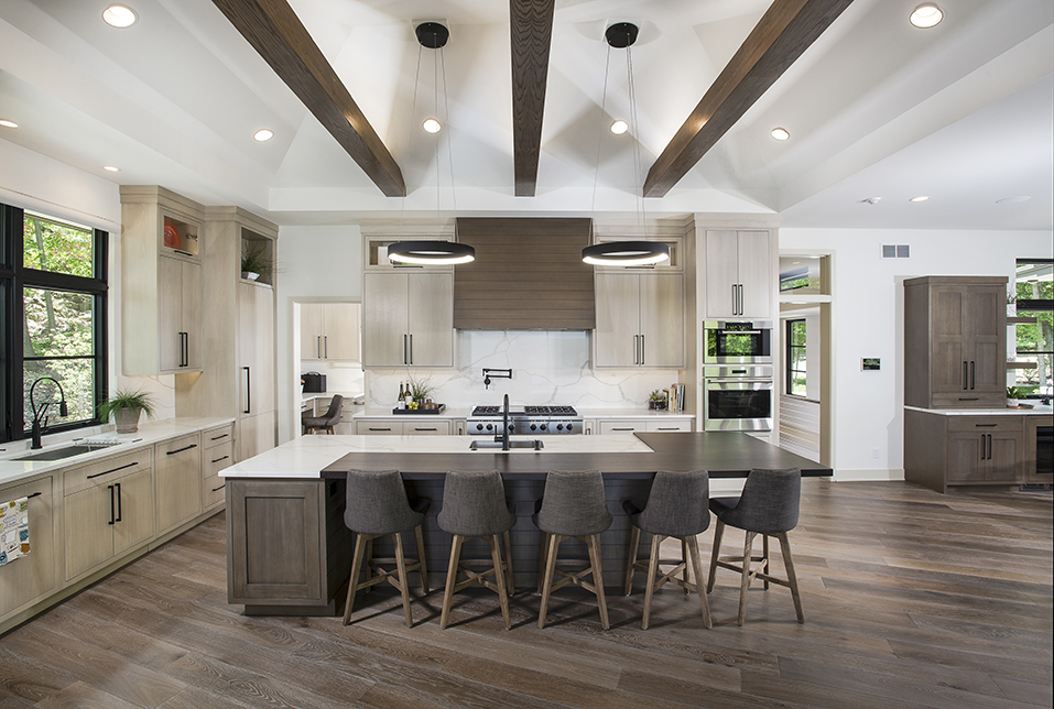 Award-Winning Kitchen for Modern Prairie Style Home in Grand Rapids, Michigan includes Stained White Oak Countertop by Grothouse