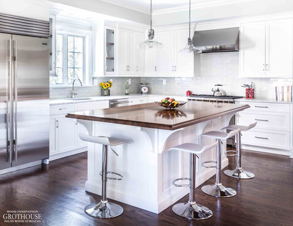 Walnut Countertop with Cove Edges design by Stonington Cabinetry & Designs in Madison, New Jersey
