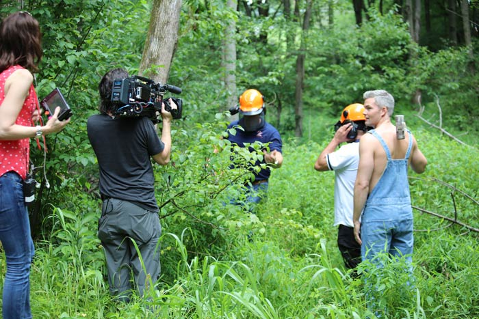 Paul Grothouse, Frank and Ryan Serhant prepare to cut down the tree for Sell It Like Serhant Bravo TV