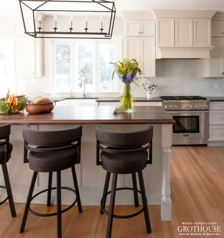 Walnut Counters with Cove Edges designed by The Cabinetry Kitchen & Bath Design Studio in Hingham, MA