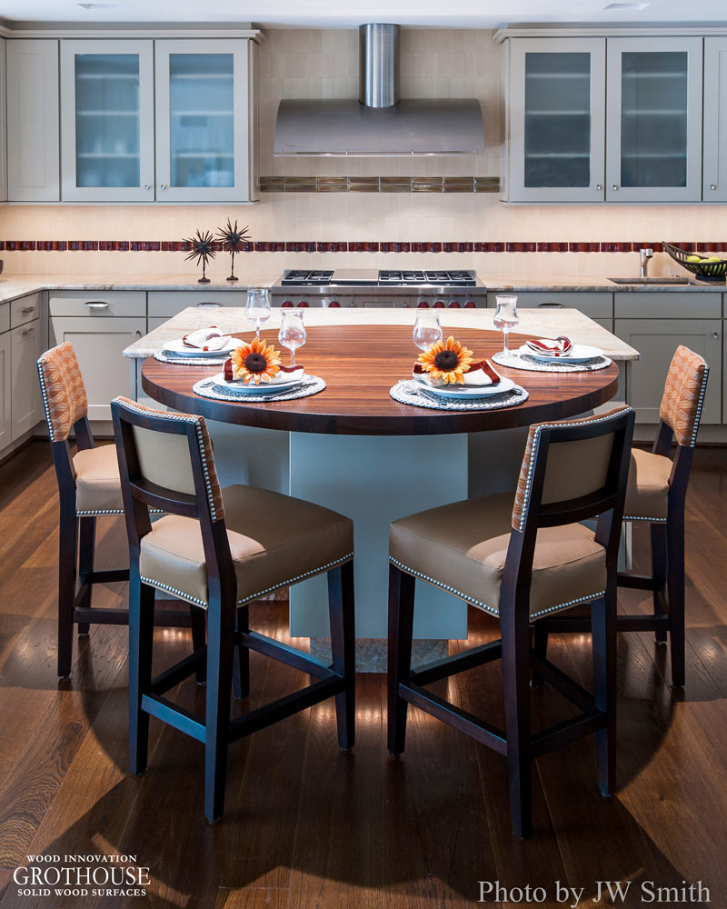 Peruvian Walnut Kitchen Island Counter and Dining Table with Round Corners