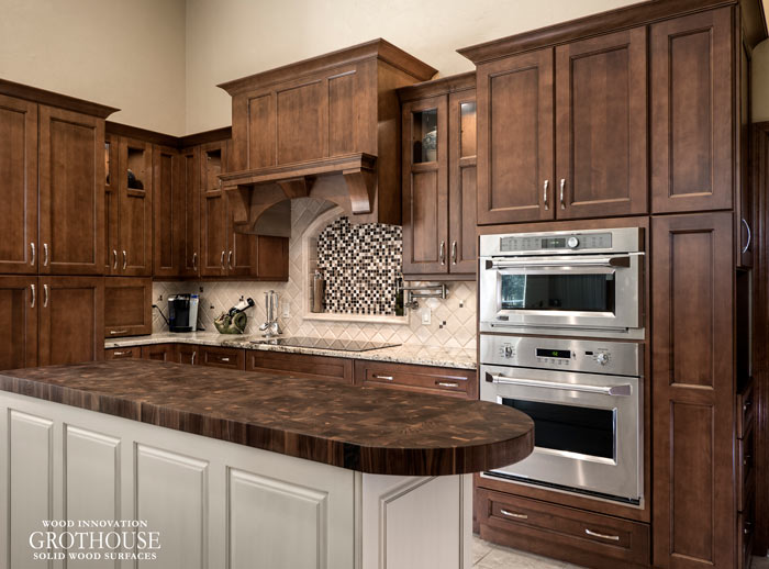 Walnut Butcher Block Kitchen Island Countertop with Round Corners