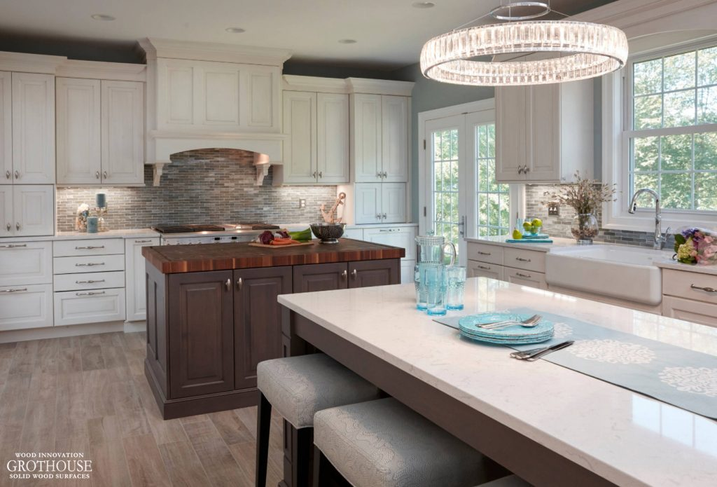 Traditional Kitchen featuring a Walnut with Sapwood Butcher Block