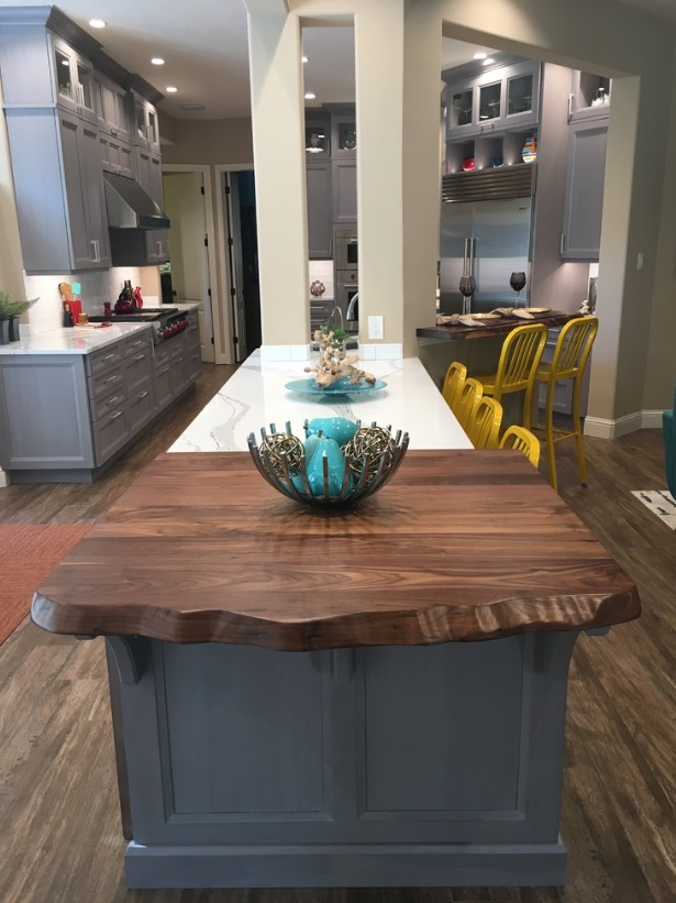 Walnut Faux Live Edge Counter Kitchen Island End