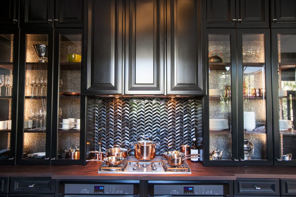 Black Cabinets with Peruvian Walnut Wood Countertop and Matching Wood Engraved Shelves