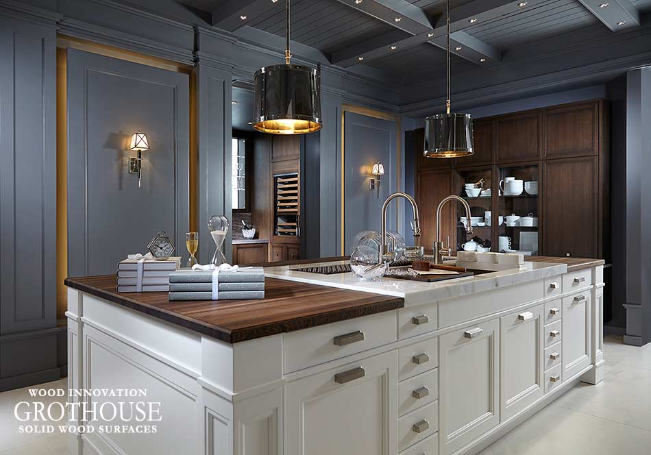 Mixing Kitchen Countertop Materials on an Island with Wood and Marble