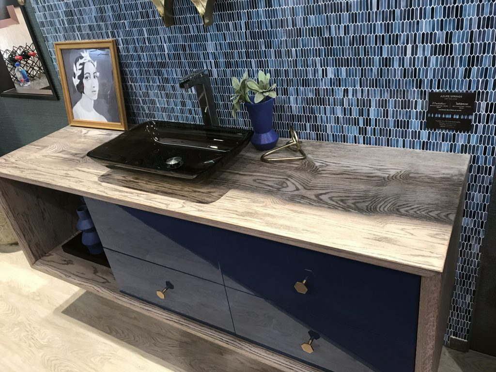 Grothouse White Oak Driftwood Finish Surround at KBIS 2019 in Elkay booth