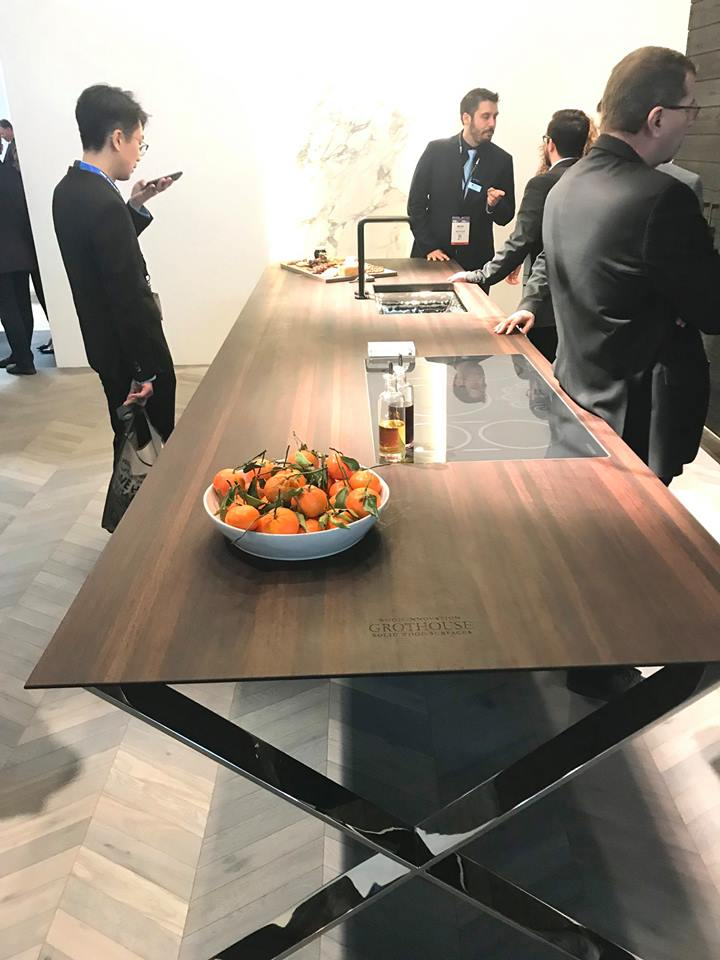 Grothouse Wenge Wood Countertop at KBIS 2019 in Monogram booth