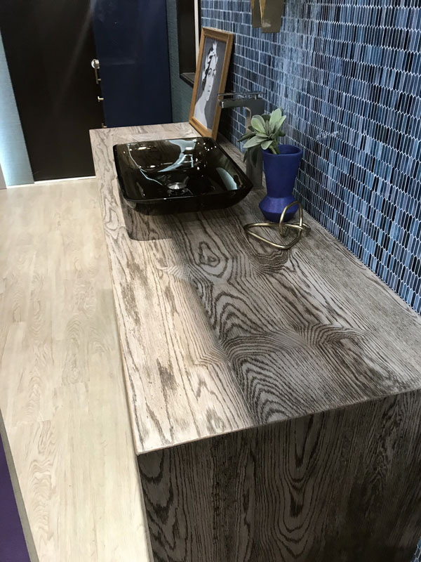 Grothouse White Oak Surround with Integrated Bowls at KBIS 2019 in Elkay booth