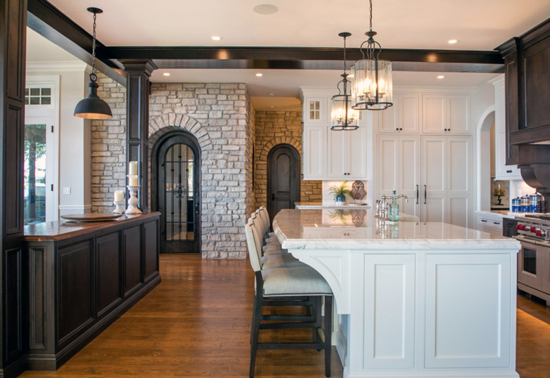 Transitional kitchen with distressed and handplaned peruvian walnut wood countertop