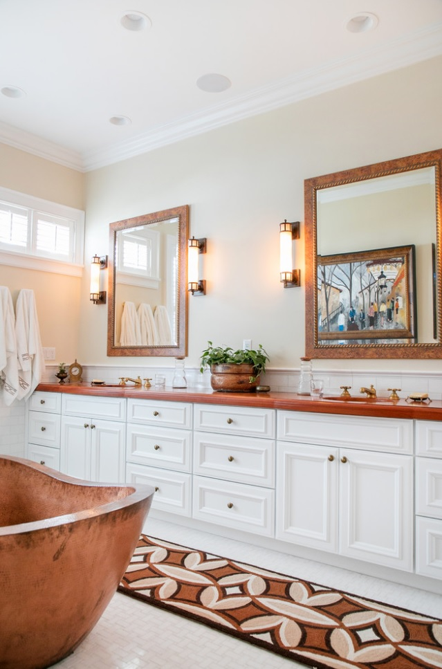 Tigerwood Vanity Top for a master bathroom design with copper tub and white cabinetry