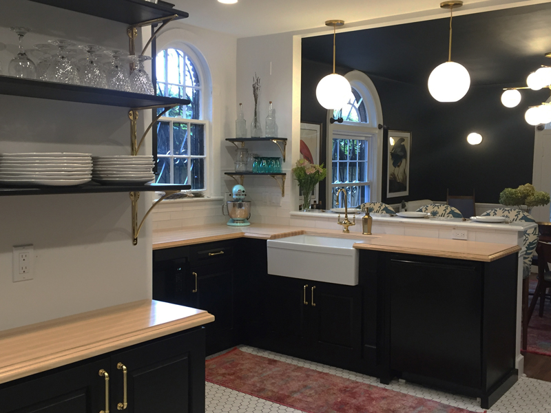 Ash Wood Countertops with Apron Front Sink and Black Cabinetry