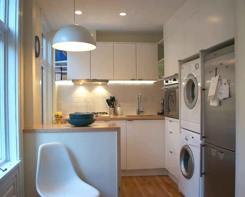 Maple Wood Countertop for a Laundry Room and Kitchen All in One Area