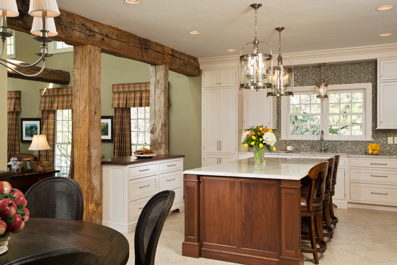 Room Divider with Walnut Countertop and Wood Beams for traditional white kitchen
