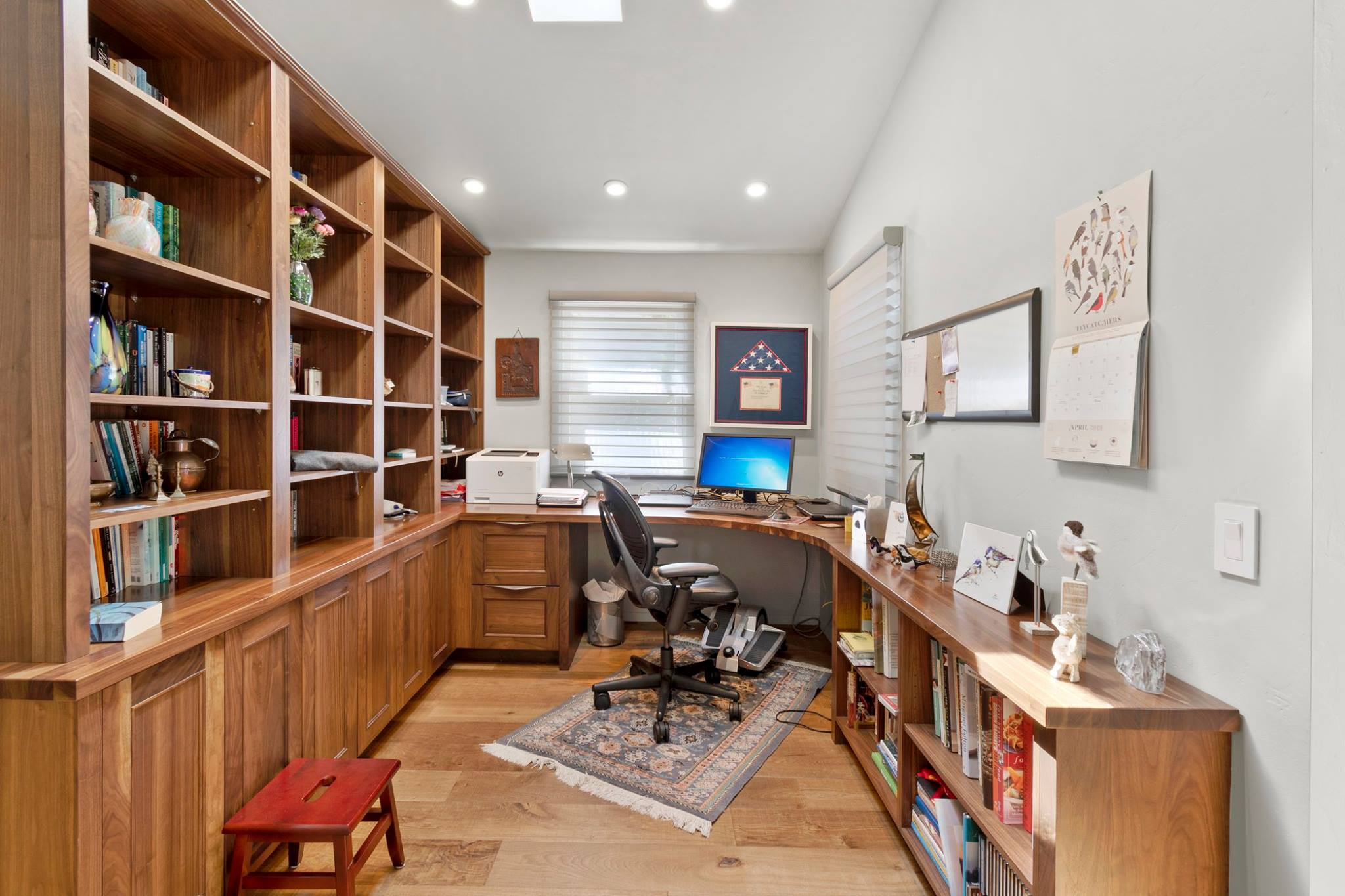 Walnut Desk Top For A Custom Built In Home Office With Cabinetry