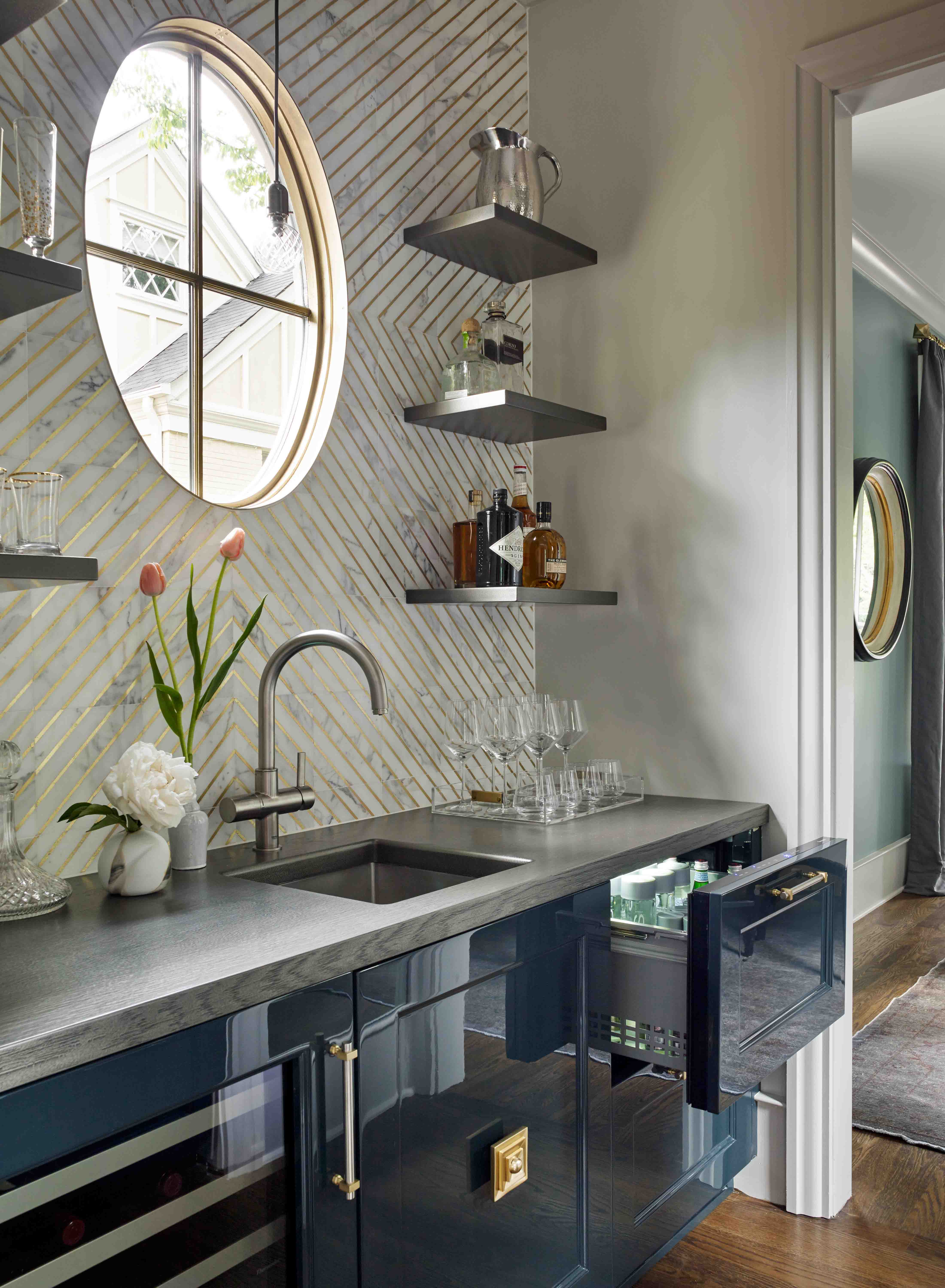 House Beautiful Kitchen of the Year Grothouse Anvil Metal Finished Wood Countertop designed by Matthew Quinn