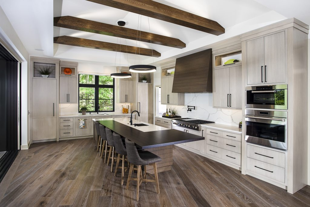 Beige Kitchen Designs with Dark Wood Counters