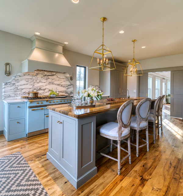 Saxon Wood Countertops for a kitchen island in a blue kitchen design