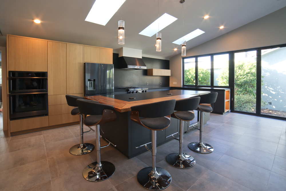 Zebrawood Kitchen Bar Top in a sleek modern kitchen design by Design Matters in Los Gatos, California