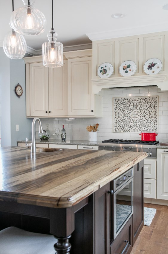 Saxon Wood Countertop for large kitchen island in Wisconsin