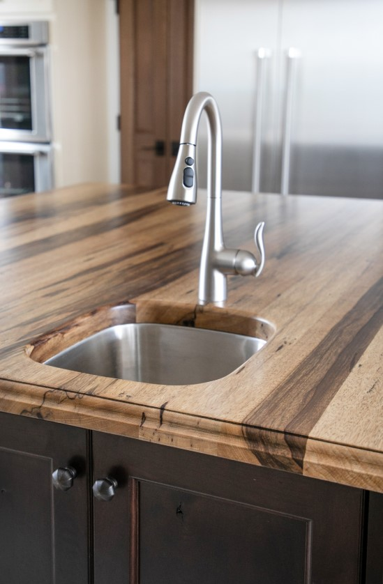 Saxon Wood Countertop with an undermount sink for a large kitchen island