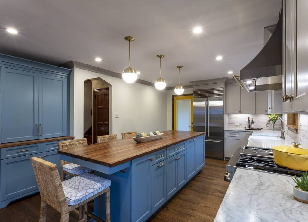 Walnut Counter for a kitchen island designed by Jacob Evans Kitchen and Bath