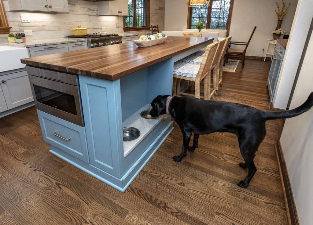 Kitchen Island with Built In Pet Bowls designed by Jacob Evans Kitchen and Bath