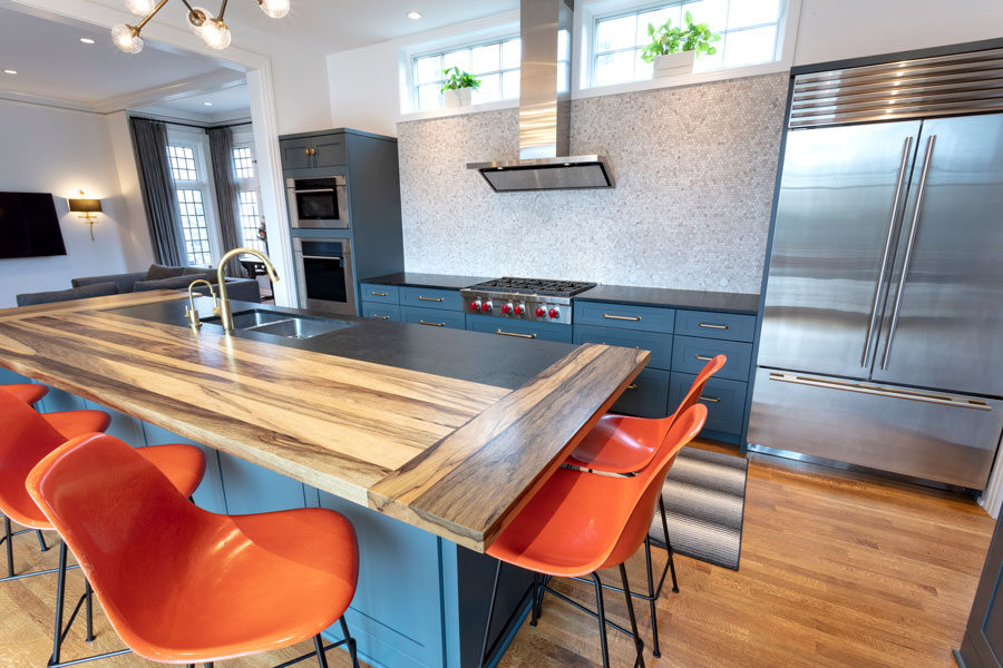 Custom Saxon Wood Island Countertop for Contemporary Kitchen