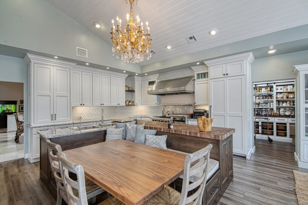 Two Tier Kitchen Island with Wood Countertops Designed for Gathering