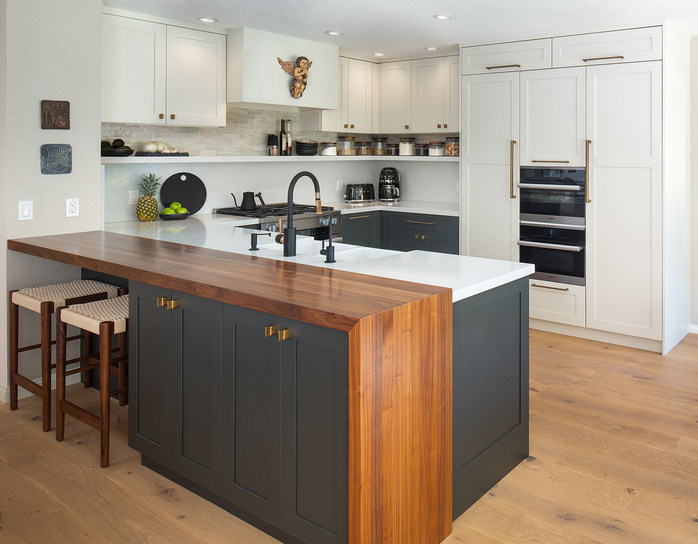 All Heartwood Walnut Half Pastore Top for a Kitchen in San Diego, California